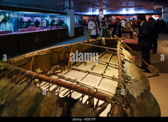 Lhasa: Tibet Museum; Boot von Yak verbirgt, Tibet, China Stockbild