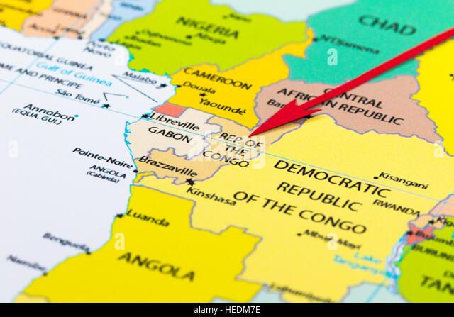 Roter Pfeil, der Republik Kongo auf der Landkarte des Kontinents Afrika Stockbild