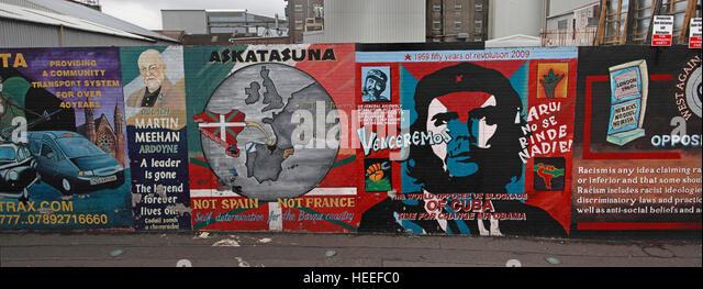Belfast fällt Rd republikanischen Frieden Wandbild Stockbild