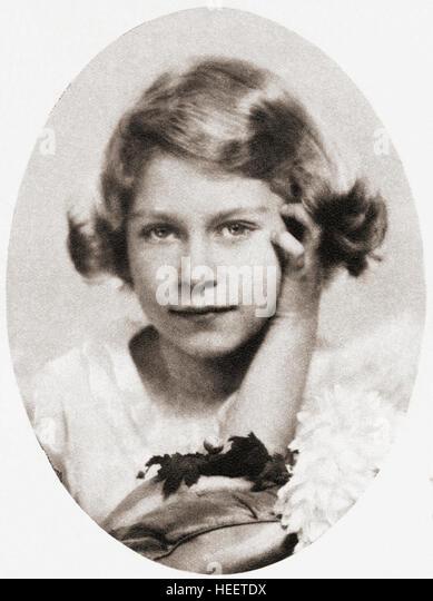 Prinzessin Elizabeth, zukünftige Königin Elizabeth II., sehen Sie hier im Alter von neun.  Elisabeth II., Stockbild
