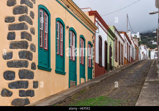 Reihenhäuser in Puntagorda, La Palma, Kanarische Inseln, Spanien Stockbild