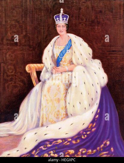 Queen Elizabeth am Tag ihrer Krönung im Jahre 1936. Elizabeth Angela Marguerite Bowes-Lyon, 1900 ?2002. Queen Stockbild