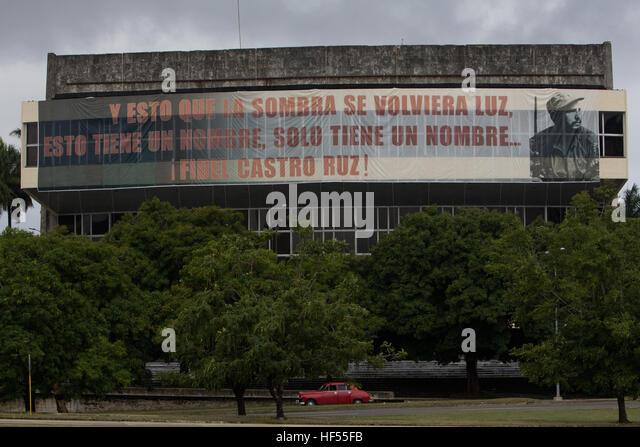 Banner von Fidel Castro auf dem Platz der Revolution, Havanna, Kuba Stockbild