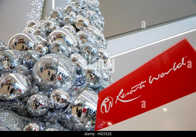 Das Genting Resorts World Centre, NEC, abgebildet mit Weihnachtsschmuck der Woche vor Weihnachten Stockbild