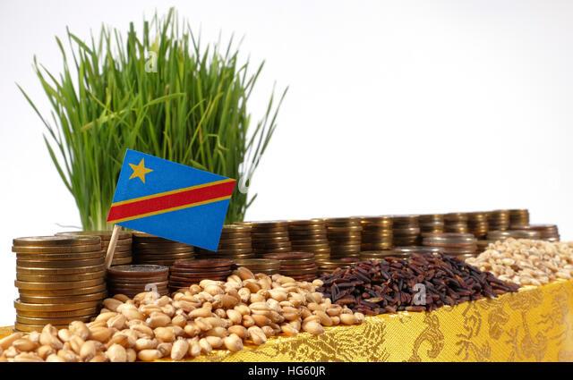 Demokratische Republik Kongo-Fähnchen mit Stapel von Geld Münzen und Haufen von Weizen und Reis Samen Stockbild