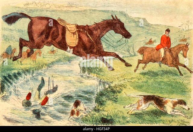 Die Launen der Fuchsjagd. Englische Fuchsjagd in den 1800er Jahren Stockbild