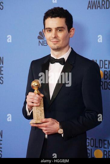 Los Angeles, USA. 8. Januar 2017. Damien Chazelle Press Room in der 74. Annual Golden Globe Awards im Beverly Hilton Stockbild