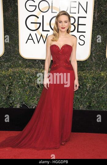 Beverly Hills, CA. 8. Januar 2017. Brie Larson im Ankunftsbereich für 74. Annual Golden Globe Awards 2017  Stockbild