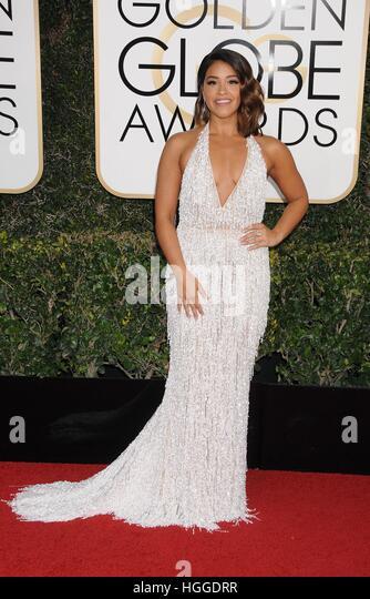 Beverly Hills, CA. 8. Januar 2017. Gina Rodriguez im Ankunftsbereich für 74. Annual Golden Globe Awards 2017 Stockbild
