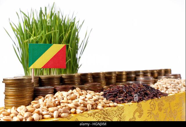 Republik Kongo-Fähnchen mit Stapel von Geld Münzen und Haufen von Weizen und Reis Samen Stockbild