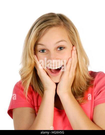 Blonde junge Frau ist überrascht und erfreut Stockbild