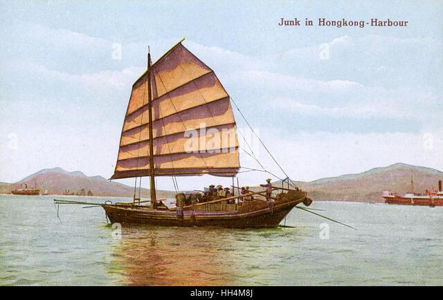 Chinesische Dschunke in Hong Kong Bucht. Stockbild