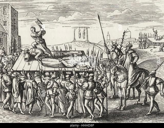 Strafen durch König Henry VIII gegen die Katholiken beschlossen Stockbild