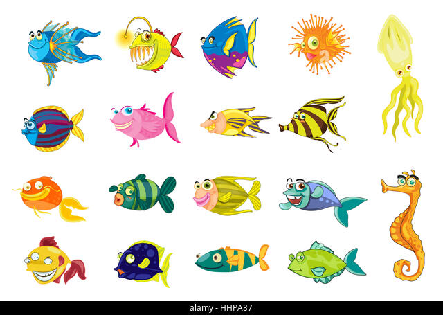 Comic, Cartoon, Illustrationen, isoliert, Tier, Fisch, Unterwasser, Stockbild