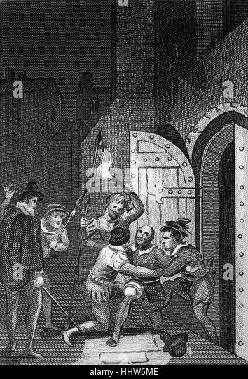 Guy Fawkes (1570-1606), war ein Mitglied einer Gruppe von provinziellen englischen Katholiken, die fehlgeschlagenen Stockbild