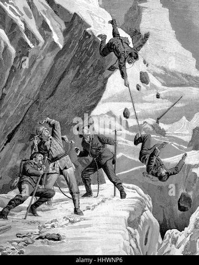 Bergsteiger Absturz, Katastrophe am Matterhorn, Schweiz, Geschichtsbild oder Abbildung veröffentlicht 1890, Stockbild
