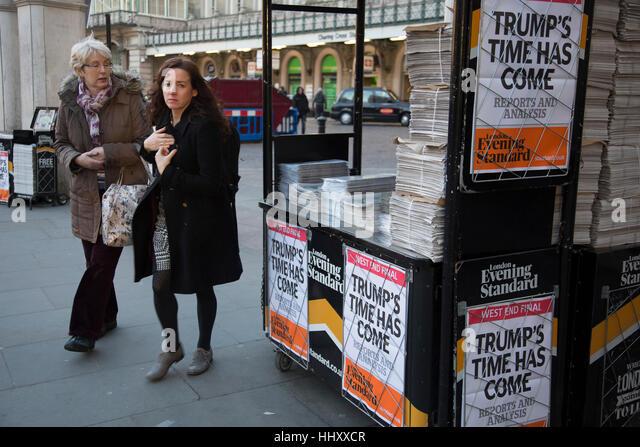 Als der 45. US Präsident wird in den USA, die Schlagzeile auf der Evening Standard Zeitung liest, dass Trumpf Stockbild