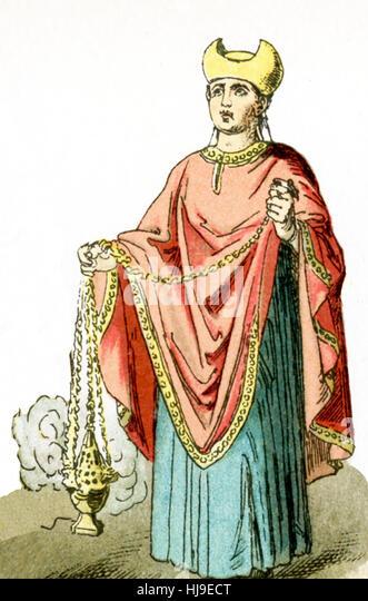 Die Figur hier vertretenen stellt einen antiken römischen christlichen Priester. Die Abbildung stammt bis 1882. Stockbild
