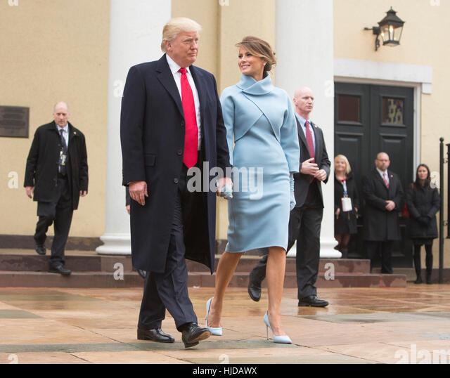 Washington, uns. 20. Januar 2017. Gewählter Präsident der Vereinigten Staaten Donald J. Trump und First Stockbild