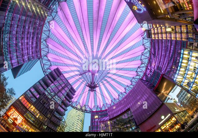 Sony Center, Atrium, Twilight, Potsdamer Platz, Berlin Stockbild
