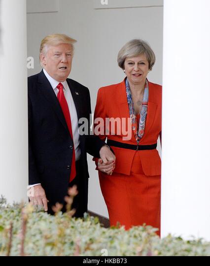 Washington DC, USA. 27. Januar 2017. US-Präsident Donald Trump und Theresa Mai der Premierminister des Vereinigten Stockbild