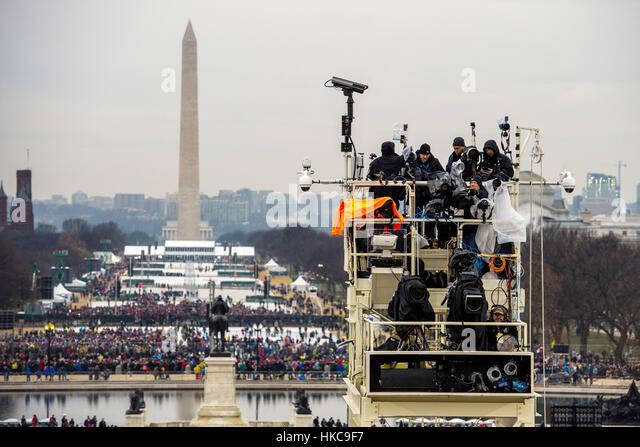 Die Medien bereitet die 58. Presidential Inauguration von Donald Trump 20. Januar 2017 in Washington, DC. Stockbild