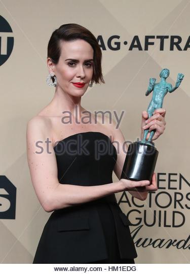 Los Angeles CA - 29. Januar Sarah Paulson, am 23. Annual Screen Actors Guild Awards - Presseraum, im Shrine Auditorium Stockbild
