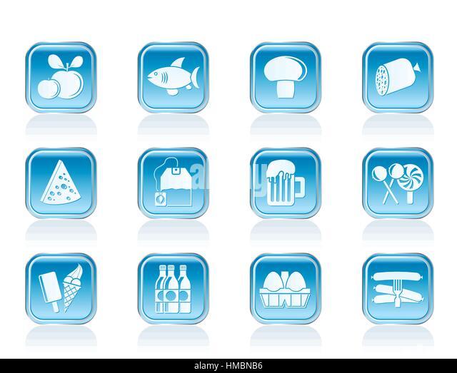 Essen, trinken und shoppen Symbole Stockbild