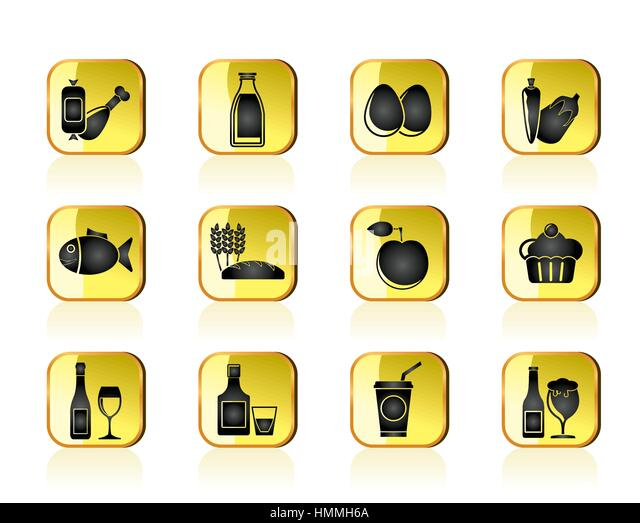 Nahrungsmittel, Getränke und Nahrungsmittel Symbole Stockbild
