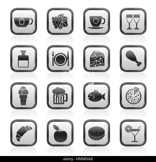 Essen, trinken und Getränke Symbole Stockbild