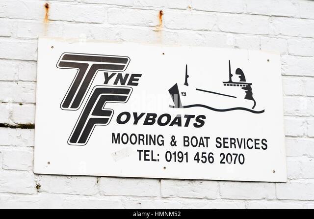 Tyne foyboats Festmachen und Boot Services unterzeichnen, South Shields, North East England, Großbritannien Stockbild