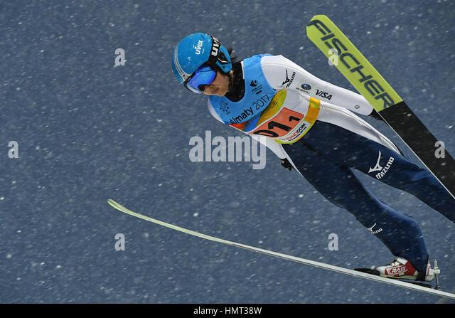 A. internationale Skisprung-Komplex, Almaty, Kasachstan. 4. Februar 2017. Jun Maruyama (JPN), 4. Februar 2017 - Stockbild