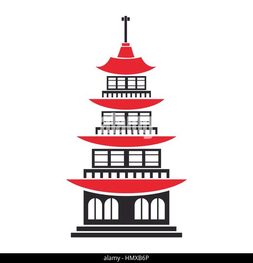 Traditional building japanese architecture vector for Traditionelle japanische architektur