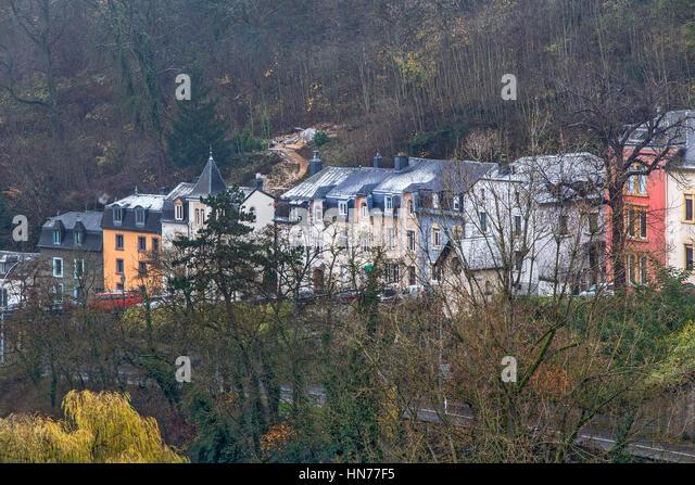 Historische Häuser von La Petrusse Luxemburg Stockbild