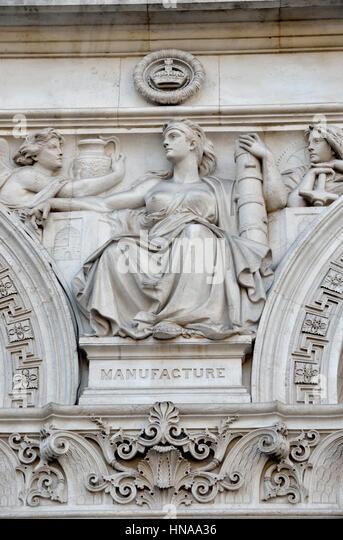 Stein Wandrelief aus Herstellung, Whitehall, London, Großbritannien. Stockbild