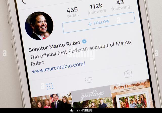 Florida Republikanische Senator Marco Rubio Twitter Konto-USA Stockbild