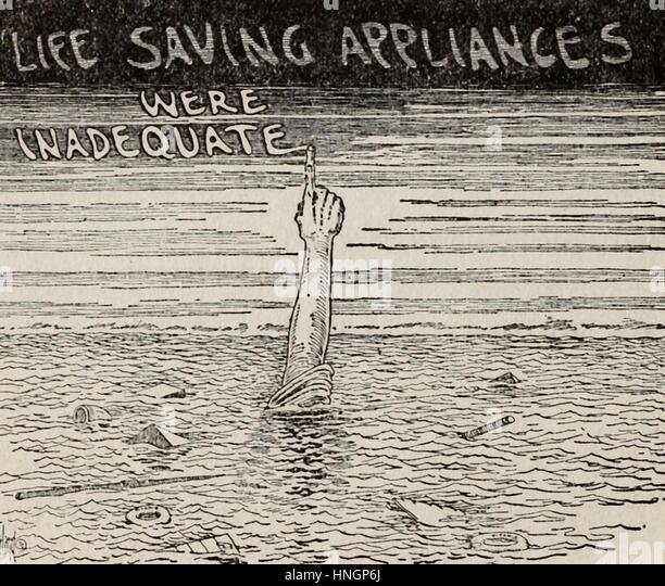 Rettungsmittel waren unzureichend - politische Karikatur nach der Titanic-Katastrophe Stockbild