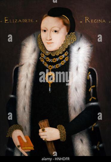 Elizabeth I. Portrait von Königin Elizabeth I, von unbekannter Künstler, Öl auf Holz, c.1558 Stockbild