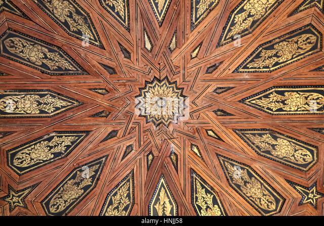 Komplizierte Decke, Nasridenpaläste, der Alhambra, Granada, Spanien Stockbild