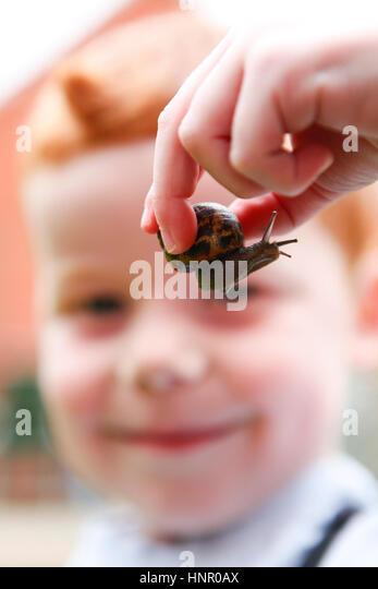 Ein fünf Jahre alter Junge spielt mit einer Schnecke in seinem Garten Stockbild