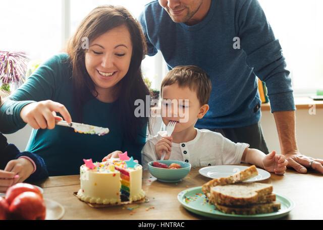 Familien-Event Geburtstag Party Zweisamkeit Glück Stockbild