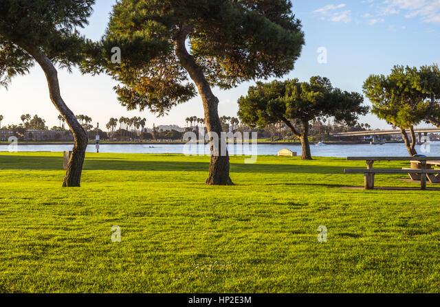 Mission Bay Park in den frühen Morgenstunden. San Diego, Kalifornien, USA. Stockbild