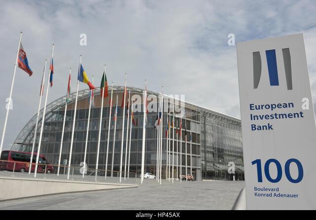 Luxemburg 10.06.2011. Blick auf die Europäische Bank für Investition in Luxemburg-Kirchberg Stockbild