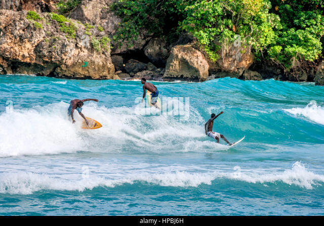 Surfer, Boston Bay, Wassersport, Wellen, Surfen, Jamaica, Jamaika Stockbild