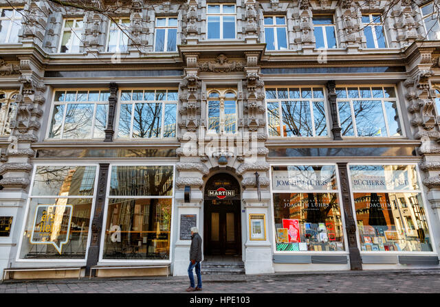 Hamburg (Deutschland) - Blick vom Alsterfleet, Kunstantiquariat Lührs Bibliothek Stockbild