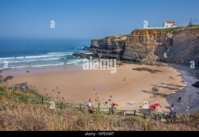Portugal, Alentejo, Naturpark Südwest Alentejo, Blick auf den zentralen Küste Strand Zambujeira mit der Stockbild