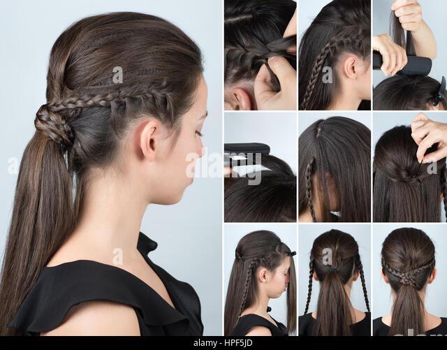 Volumen-Frisur-Pferdeschwanz mit Zopf Tutorial. Frisur für lange Haare. Frisur-tutorial Stockbild