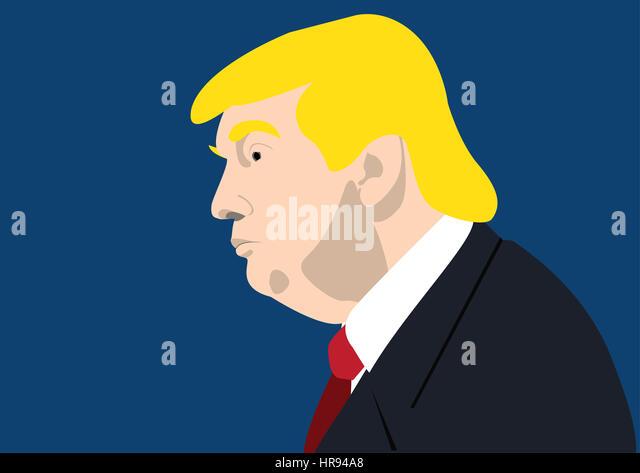 Donald Trump, Präsident der USA, Porträt gemalt Stockbild