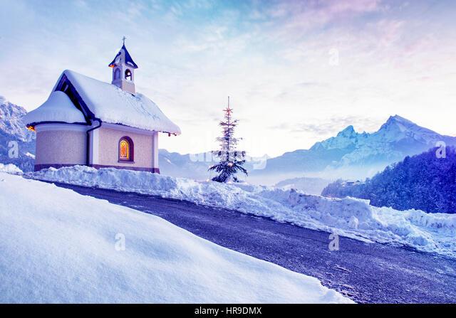 chapel lockstein berchtesgaden watzmann in stockfotos. Black Bedroom Furniture Sets. Home Design Ideas