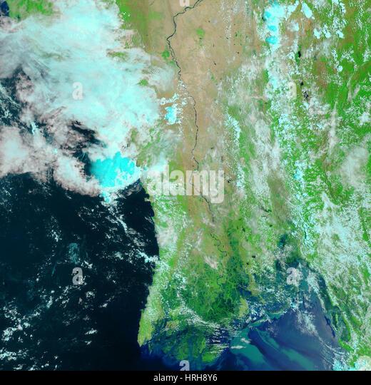 Zyklon Nargis nach Landfall, MODIS Bild Stockbild